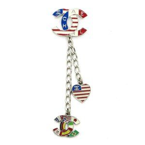 CHANEL CC Logos National Flag Brooch Pin Corsage